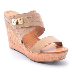 Tommy Hilfiger tan 'Mili' wedge sandal NWOT